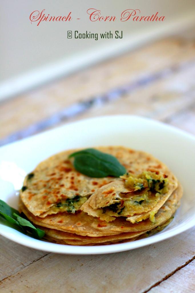 spinach corn paratha
